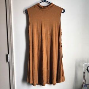 Knee-length dress.